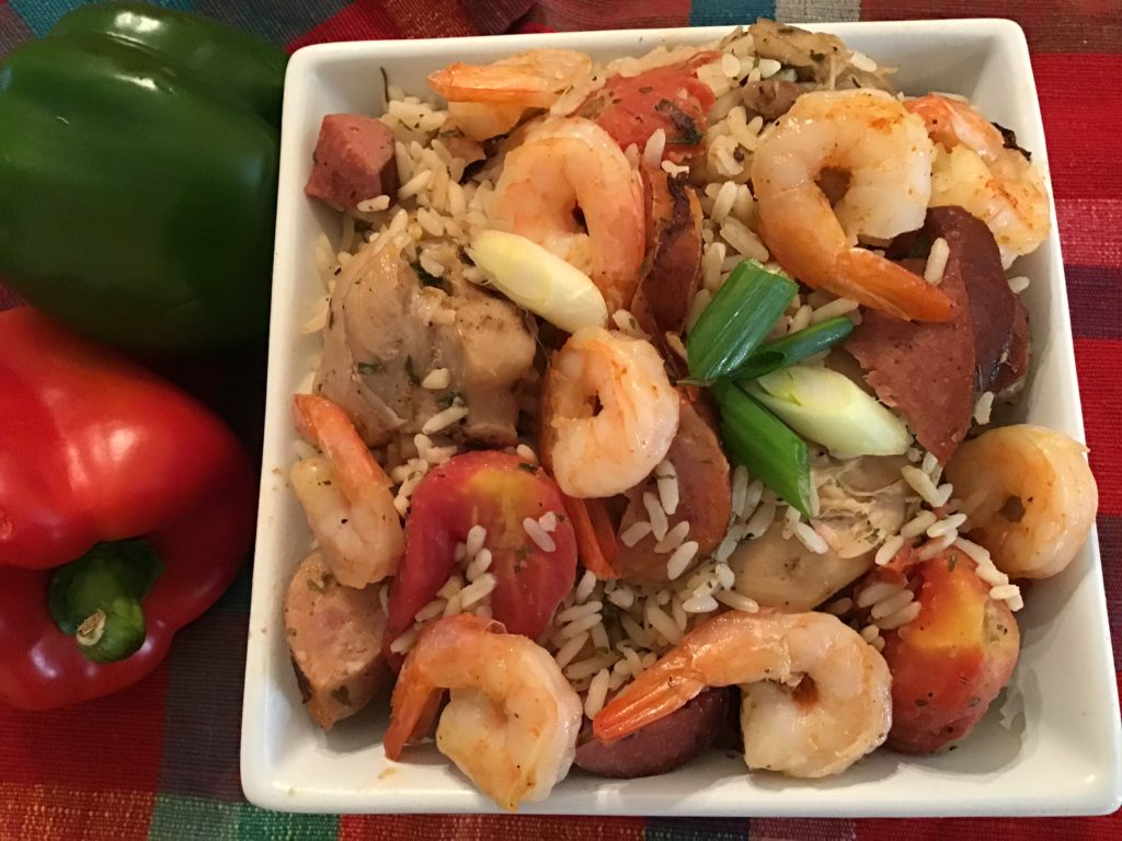 shrimp and rice meal