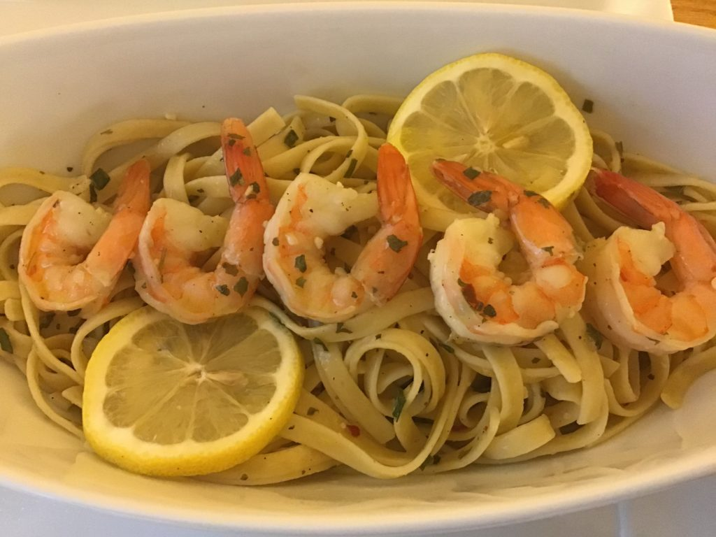 shrimp and pasta meal