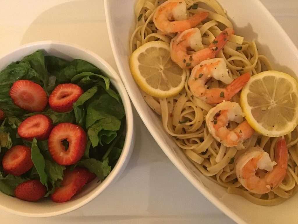 shrimp linguine meal